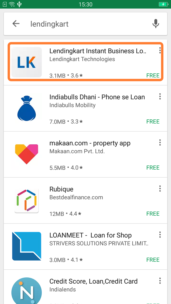 Lendingkart Instant Business Loans in Playstore Search on phone