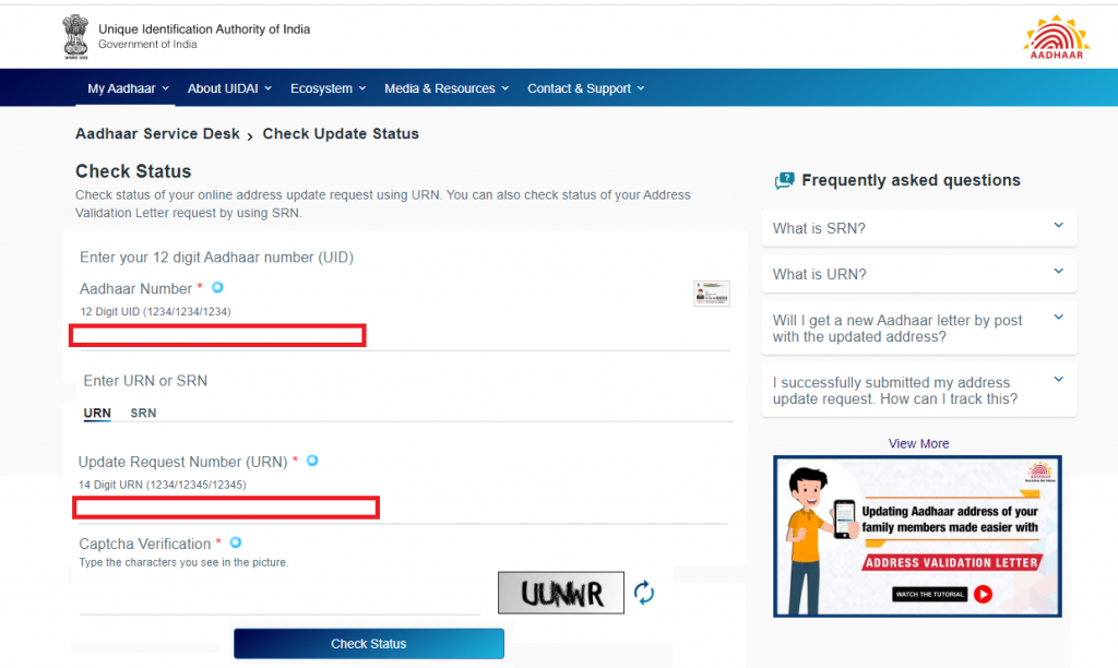 Steps to Check Aadhar Card Address Update Status by Urn (Update Request Number)