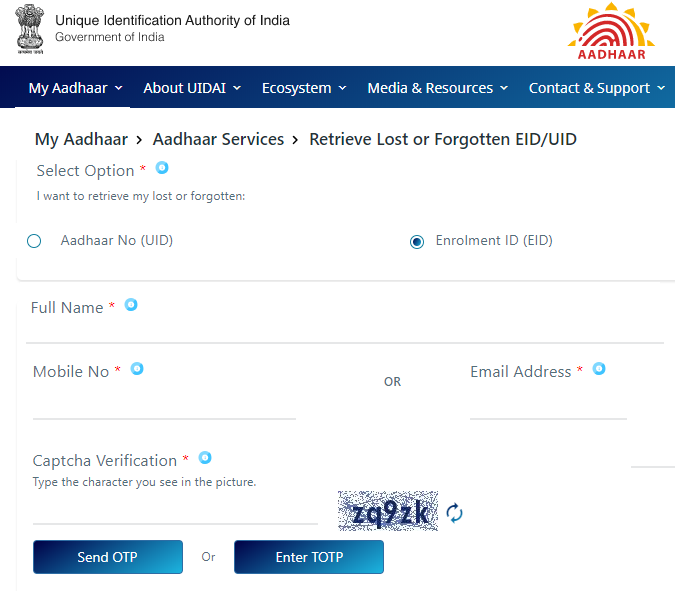 Steps to Check Aadhar Card Status Without Enrollment Number