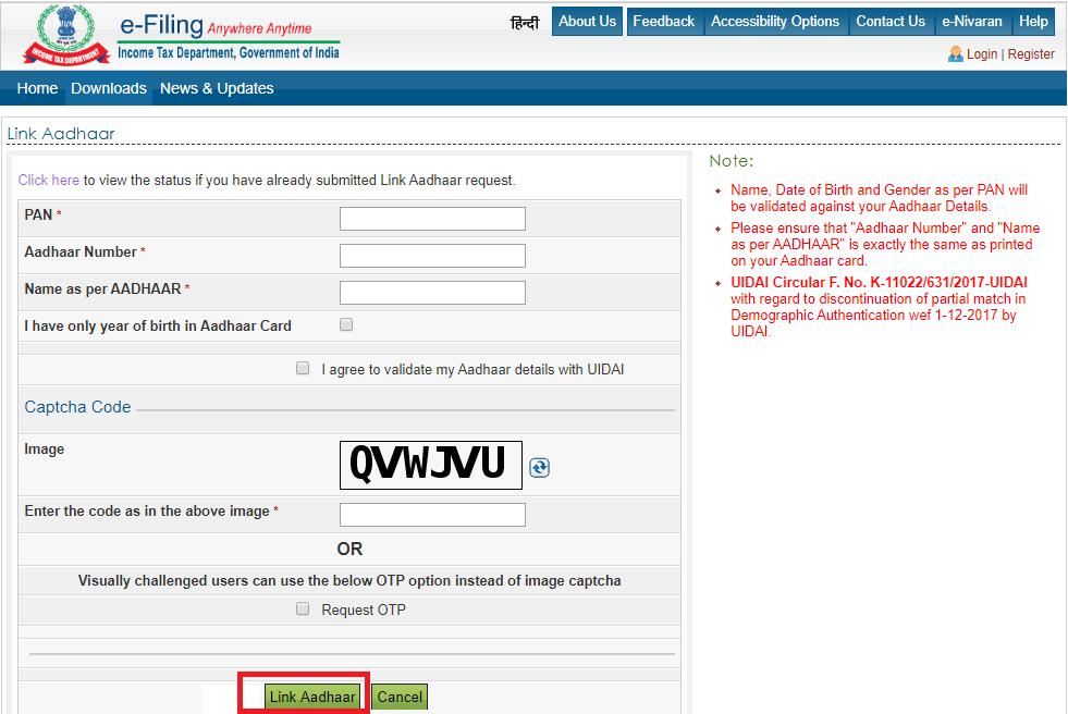 aadhaar pan link i agree to validate my aadhaar details with UIDAI