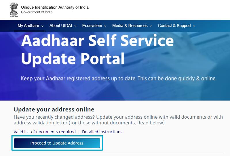 Update Aadhaar Card Address-2