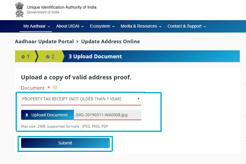 Update Aadhaar Card Address-7