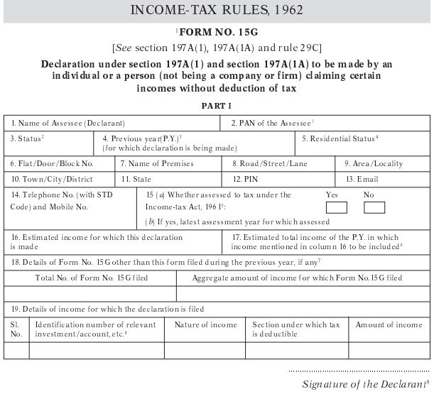 Form 15G Sample image